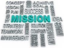 el concepto de la misión 3d y del negocio en palabra marca la nube con etiqueta ilustración del vector