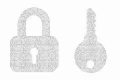 El concepto de la seguridad de Internet hizo con el código binario que dibujaba un padloc Fotos de archivo libres de regalías