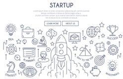 El concepto de lanzamiento del diseño web enrarece la línea ilustración del vector