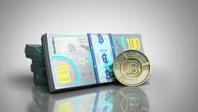 el concepto de las cuentas virtuales 3d del billete de banco del bitcoin y de dinero del monet ren Foto de archivo libre de regalías