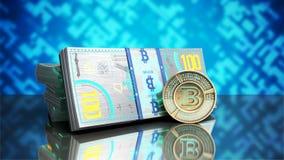 el concepto de las cuentas virtuales 3d del billete de banco del bitcoin y de dinero del monet ren Imagen de archivo libre de regalías