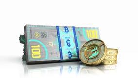 el concepto de las cuentas virtuales 3d del billete de banco del bitcoin y de dinero del monet ren Foto de archivo