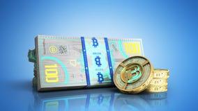 el concepto de las cuentas virtuales 3d del billete de banco del bitcoin y de dinero del monet ren Fotografía de archivo libre de regalías