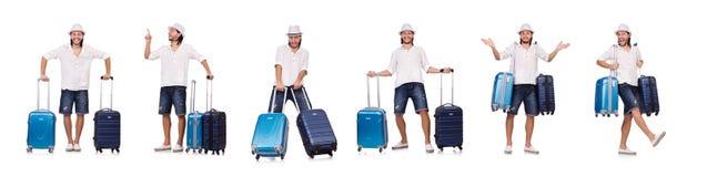 El concepto de las vacaciones del viaje con equipaje en blanco foto de archivo
