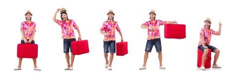 El concepto de las vacaciones del viaje con equipaje en blanco fotografía de archivo libre de regalías