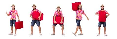 El concepto de las vacaciones del viaje con equipaje en blanco imagen de archivo libre de regalías