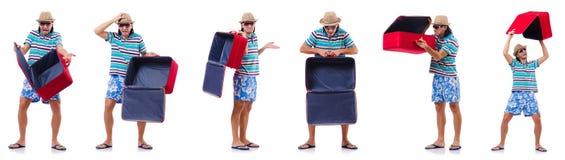 El concepto de las vacaciones del viaje con equipaje en blanco imágenes de archivo libres de regalías