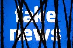 El concepto de medida enérgica en noticias falsas despierta inquietudes de la censura stock de ilustración
