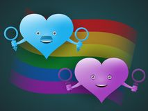 El concepto de minorías sexuales y de productos naturales bajo la forma de corazones alegres con símbolos de hombres y de mujeres stock de ilustración