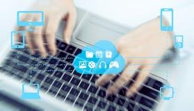 El concepto de Omnichannel entre los dispositivos para mejorar el funcionamiento de la compañía Soluciones innovadoras en negocio Imagen de archivo libre de regalías