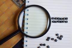 El concepto de palabra del asesoramiento de experto en de madera cubica, en la lupa, los libros en fondo fotos de archivo libres de regalías