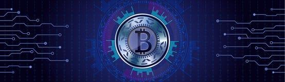 El concepto de plata de Bitcoin en qith futurista del fondo de HUD numera Fotografía de archivo