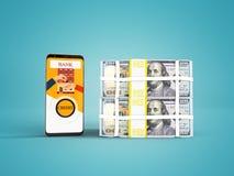 El concepto de préstamo a través del teléfono en el banco en los dólares 3d rinde en fondo azul con la sombra stock de ilustración