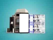 El concepto de préstamo a través del teléfono en dólares en un apartamento 3d arranca libre illustration