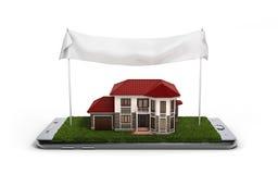 El concepto de propiedad de casa en línea de las ventas está en el illust del teléfono 3d Imágenes de archivo libres de regalías