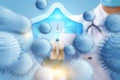 El concepto de protección sanitaria contra virus Fotografía de archivo libre de regalías