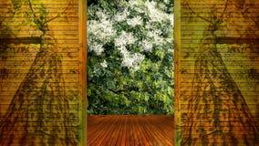 El concepto de puerta abierta de madera considera el árbol Imagen de archivo libre de regalías