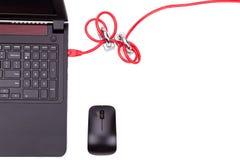 El concepto de seguridad de la red de ordenadores con el doble padlocks sobre c Foto de archivo libre de regalías
