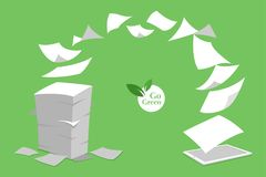 El concepto de sin papel blanco de la pila va verde Fotos de archivo libres de regalías