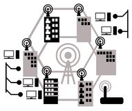 El concepto de sistema de comunicaci?n celular o m?vil en la ciudad fotos de archivo libres de regalías