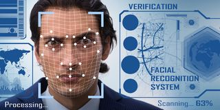 El concepto de software y de soporte físico del reconocimiento de cara foto de archivo libre de regalías