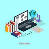 El concepto de un lugar de trabajo del estudiante Estilo de la educación isométrico Imagen de archivo libre de regalías