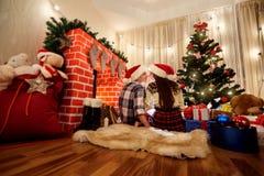 El concepto de una Feliz Año Nuevo Vista posterior de pares cariñosos en c Imagen de archivo libre de regalías