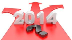 El concepto de una opción de una manera en una bifurcación del camino - año 2014 stock de ilustración
