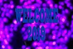 EL CONCEPTO DEL AÑO NUEVO 2019 CON EL TEXTO DA LA BIENVENIDA A 2019 SOBRE BACKGR BORROSO foto de archivo libre de regalías