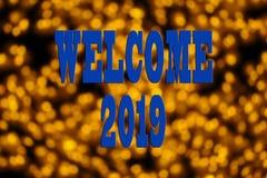 EL CONCEPTO DEL AÑO NUEVO 2019 CON EL TEXTO DA LA BIENVENIDA A 2019 SOBRE BACKGR BORROSO imagen de archivo libre de regalías