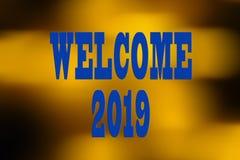 EL CONCEPTO DEL AÑO NUEVO 2019 CON EL TEXTO DA LA BIENVENIDA A 2019 SOBRE BACKGR BORROSO fotografía de archivo libre de regalías