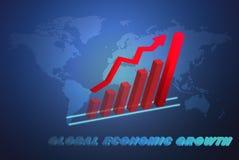 El concepto del asunto de la economía global con la carta de crecimiento 3D stock de ilustración