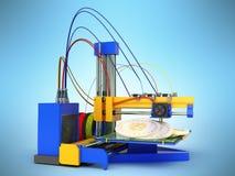 El concepto del bitcoin 3d de la impresión de la impresora 3d rinde en backgr azul Fotos de archivo