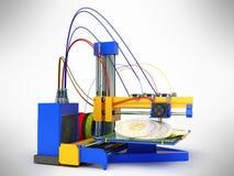 El concepto del bitcoin 3d de la impresión de la impresora 3d rinde en backgr gris Foto de archivo