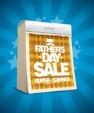 El concepto del cartel del vector de la venta del día de padre con rasga el calendario