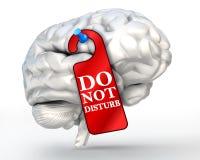 El concepto del concentrado no perturba la muestra roja en cerebro humano Imágenes de archivo libres de regalías