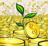 El concepto del crecimiento de dinero, brote crece de las monedas de oro, ejemplo del vector stock de ilustración