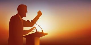 El concepto del discurso con un hombre que se dirija a un público viene considerarlo en su reunión ilustración del vector