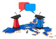 El concepto del discusión de la unión europea, representación 3D ilustración del vector