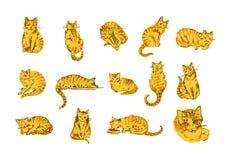 El concepto del ejemplo del vector de mano del gato ahoga el ejemplo en el fondo blanco ilustración del vector