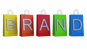 El concepto del marketing de marca con los panieres 3d rinde el ejemplo 3d Imagen de archivo