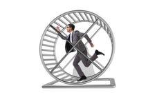 El concepto del negocio con el hombre de negocios que corre en la rueda del hámster imagen de archivo