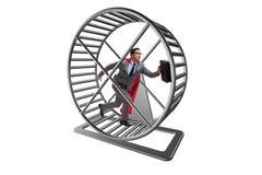 El concepto del negocio con el hombre de negocios que corre en la rueda del hámster imágenes de archivo libres de regalías