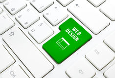 Concepto del negocio del diseño web. El verde entra en el botón o lo cierra en el teclado blanco Foto de archivo libre de regalías