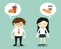 El concepto del negocio, el hombre de negocios y la sensación de la mujer de negocios cansaron y pensando en la comida libre illustration