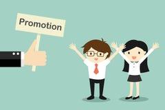El concepto del negocio, mano ofrece la promoción al hombre de negocios y a la mujer de negocios ilustración del vector