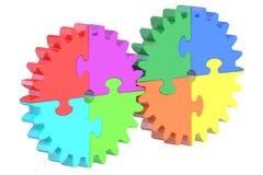 El concepto del negocio y del éxito con el engranaje desconcierta, la representación 3D Fotografía de archivo