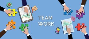 El concepto del trabajo del equipo junto utiliza rompecabezas o vector del rompecabezas Foto de archivo