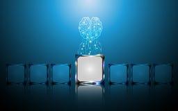El concepto digital creativo del cerebro y del microchip resume el fondo Foto de archivo