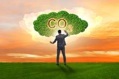 El concepto ecológico de emisiones de gases de efecto invernadero ilustración del vector